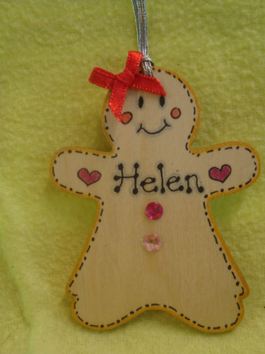 Gingerbread lady girl Christmas Tree Hanger wooden personalised